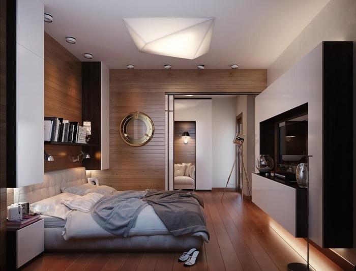 Для современного интерьера и дизайна спальной комнаты характерно использование классических натуральных материалов.
