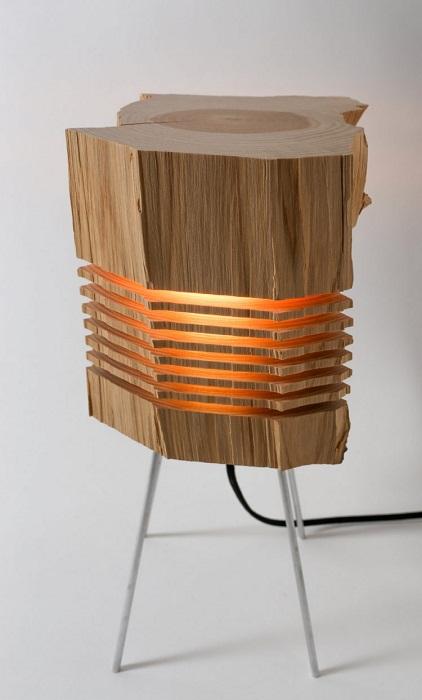 Напольный светильник из пня.