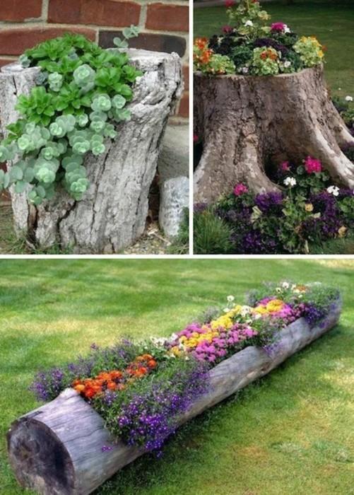 Большие и маленькие брёвна можно превратить в оригинальные горшки для выращивания различных цветов и растений.