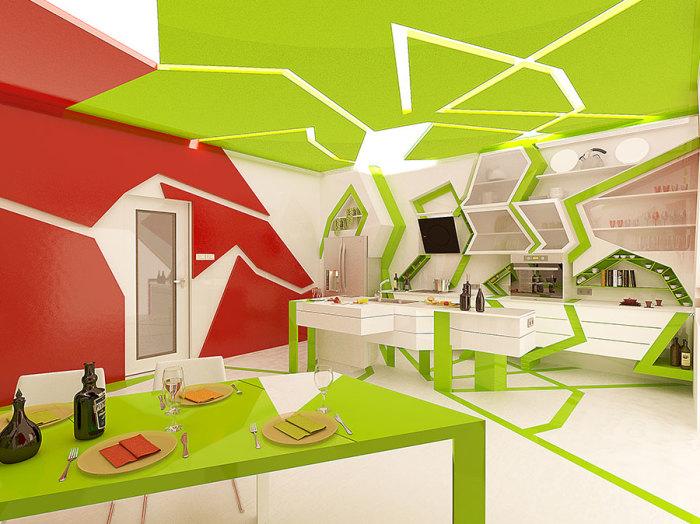 Смелый, интригующий и яркий дизайн кухонного пространства.