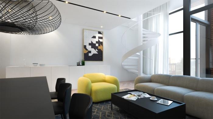 В качестве акцентов для серой гостиной комнаты хорошо подойдёт жёлтое кресло.