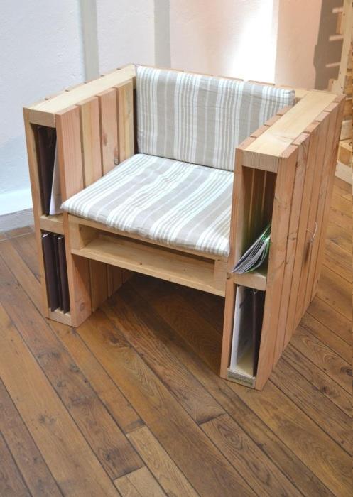 Стильное и практичное кресло из деревянных поддонов для тех, кто предпочитает экологически чистые материалы.