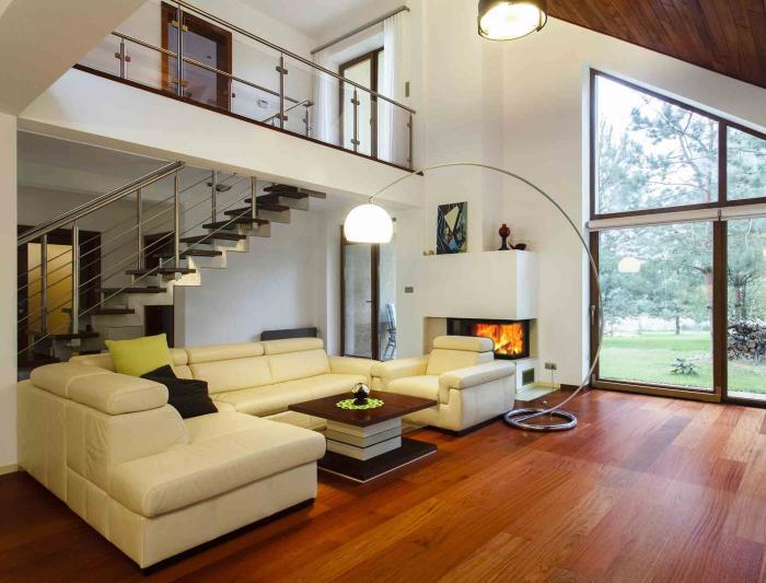 Дизайн в гостиной комнате в стиле хай-тек.