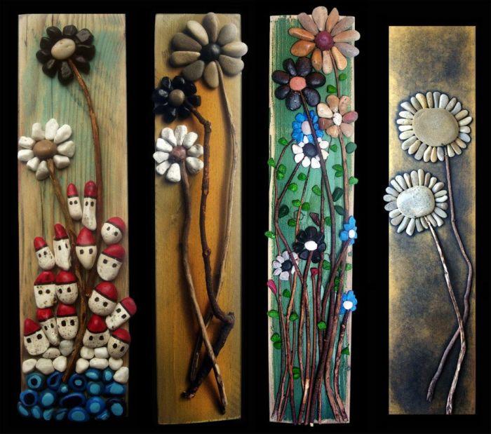 Картины с изображением цветов, выполненные из дерева и морской гальки.