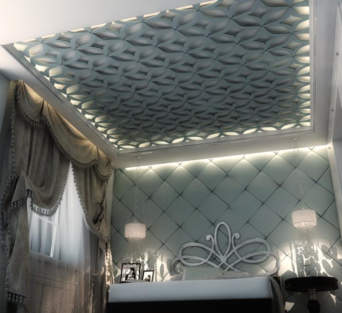 Красивый вариант оформления подвесного потолки из гипсокартона гармонирующего с интерьером спальни.