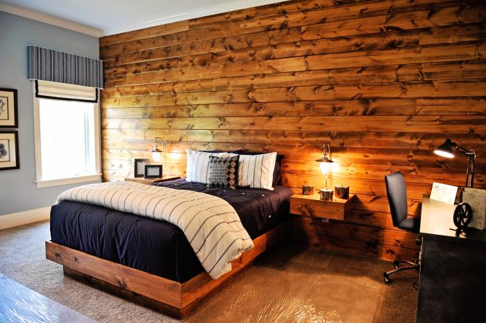 Современная идея отделки стены у изголовья кровати в спальной комнате