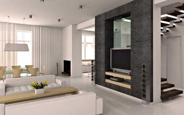Современная концепция минимализма в интерьере гостиной комнаты.