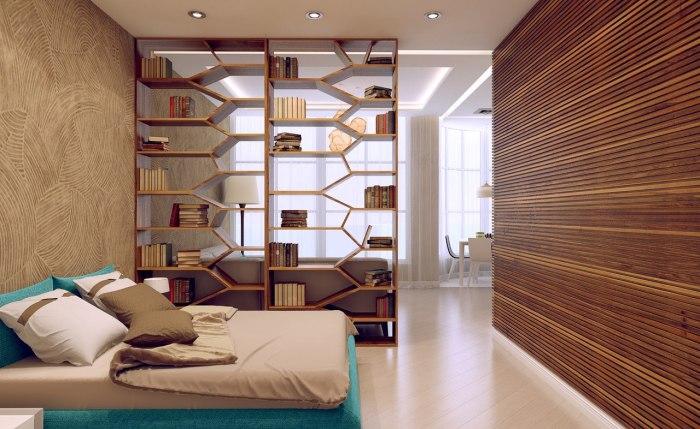 Многофункциональный деревянный стеллаж, который позволит поделить комнату на несколько зон.