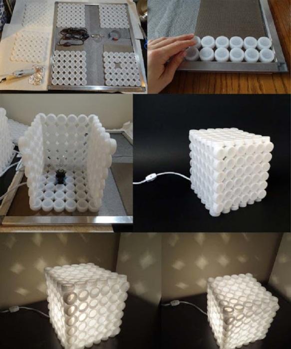 Лампа из пластиковых бутылок, которую можно изготовить своими руками.