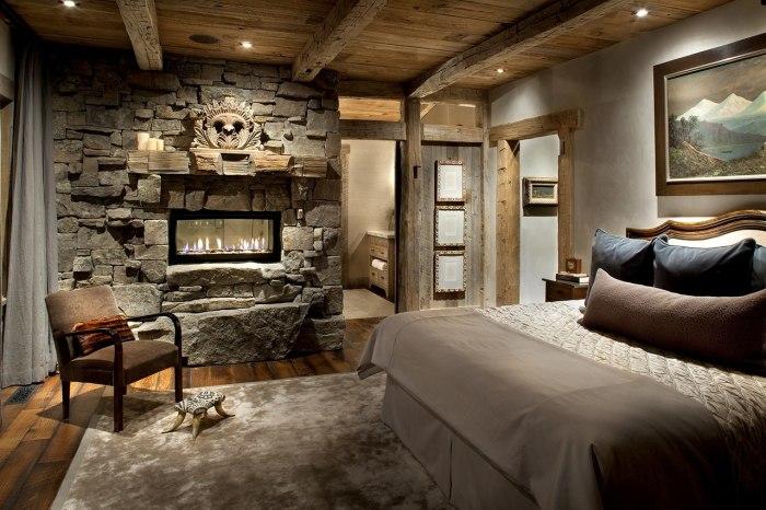 Имитация каменной стены в интерьере спальной комнаты.