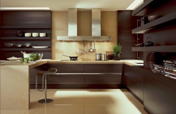 Современный интерьер и правильно подобранное освещение залог создания оригинального кухонного помещения.