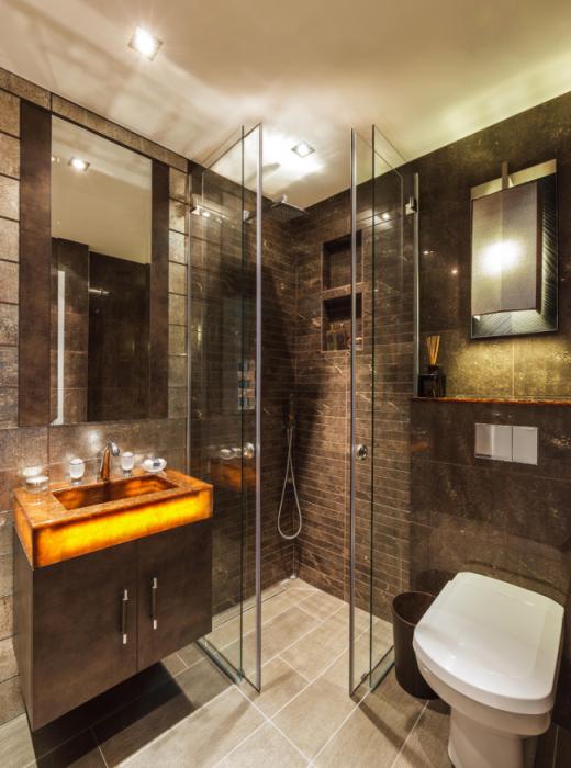 Современный интерьер ванной комнаты, в котором каждая деталь произведение искусства.