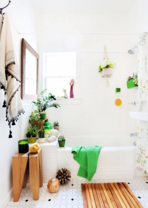 Маленькая современная ванная комната в светлых тонах, оживленная домашними цветами.
