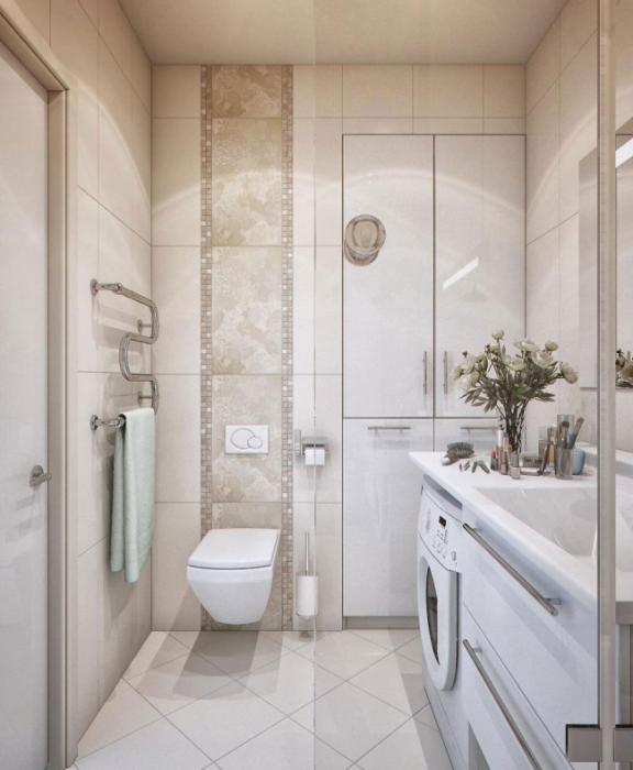 Светлые оттенки и прозрачная стеклянная перегородка визуально увеличивают пространство в ванной комнате.