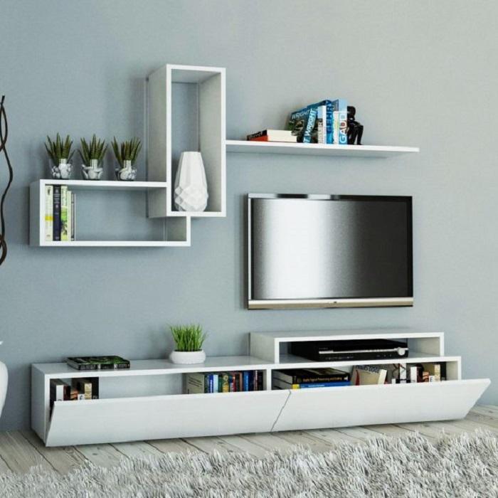 Ультрасовременный стиль зоны для просмотра телевизора.