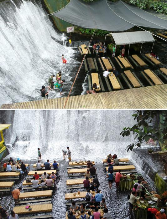 Ресторан «Labassin Waterfall» привлекают внимание туристов и любителей всего необычного. Филиппины, Сан-Пабло.