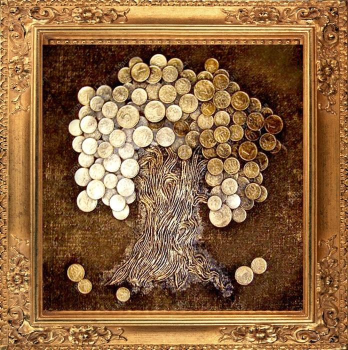 Картина в виде дерева из медной проволоки и старинных монет.