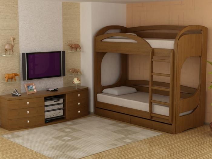 Ультрамодная кровать в классическом стиле с двумя ярусами.