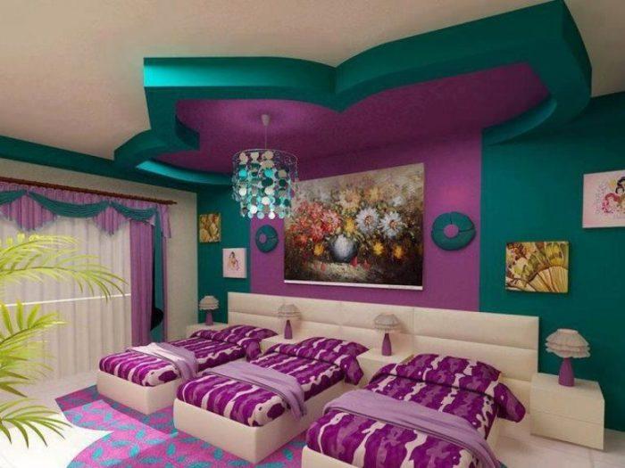 Отличный вариант оформления комбинированного потолка в форме цветка.
