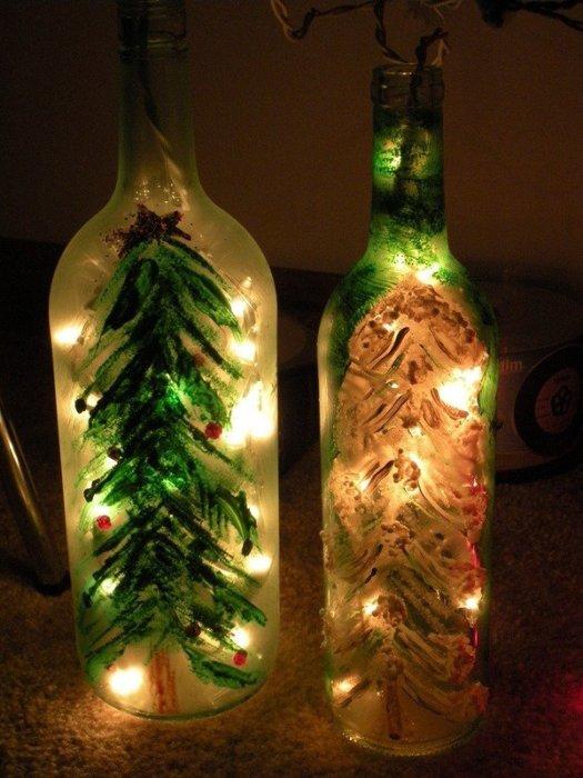 Красивый декупаж бутылки в новогоднем стиле.