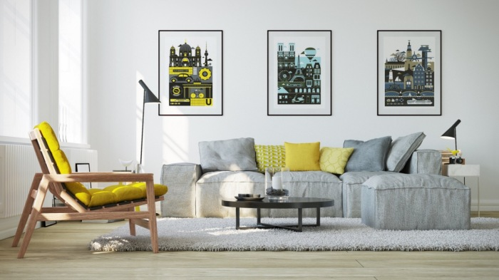 Жёлтый цвет, пожалуй, можно назвать самым светлым среди ярких, насыщенных цветов, который идеально впишется в светлый интерьер гостиной комнаты.
