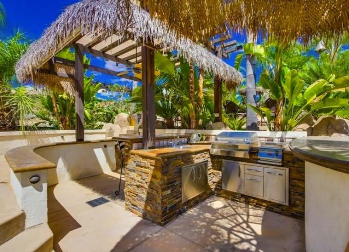Можно высадить вокруг открытой летней кухни пальмовые растения или живую изгородь.