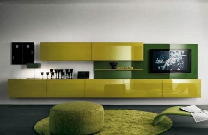 Дизайн гостиной комнаты в салатовом цвете.