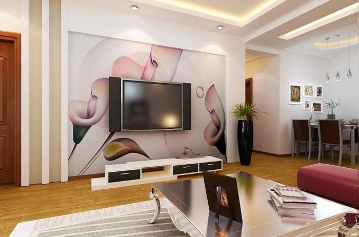 Обои с рисунком в зоне для просмотра телевизора могут изменить и улучшить интерьер гостиной комнаты.