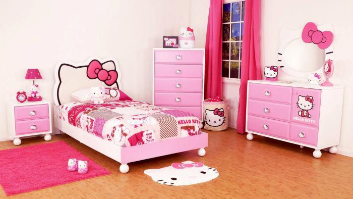 Интерьер детской спальной комнаты, выполненный по сюжету мультика для девочек Hello Kitty.