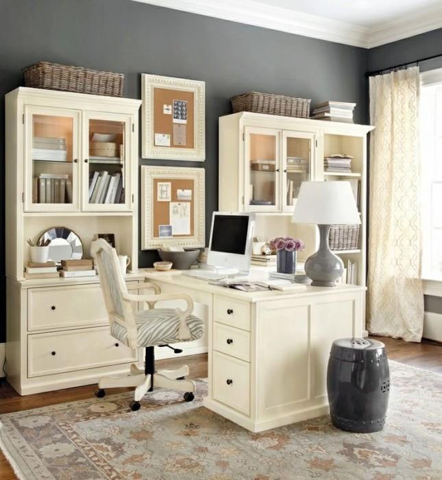 Нестандартный дизайн домашнего офиса в женском стиле.