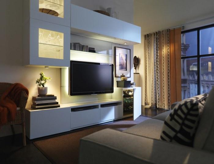 Правильно подобранное освещение залог хорошего времяпрепровождения перед телевизором.