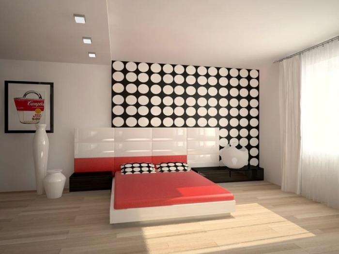 Яркие глянцевые краски в дизайне спальной комнаты.