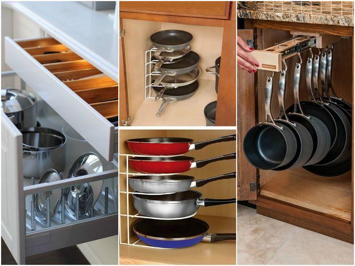 Для набора кастрюль и сковородок, лучше всего приобрести специальный металлический органайзер.