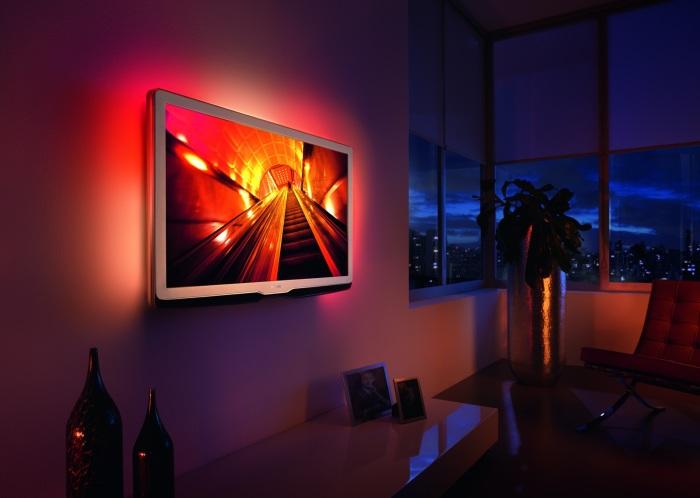 Плазменный экран с необычной автоматической неоновой подсветкой, которая позволит создать просто сказочную атмосферу.