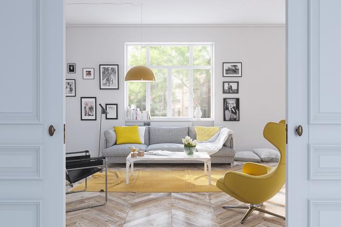 Жёлтые оттенки легко вступают в гармоничную связь практически со всеми палитрами красок.