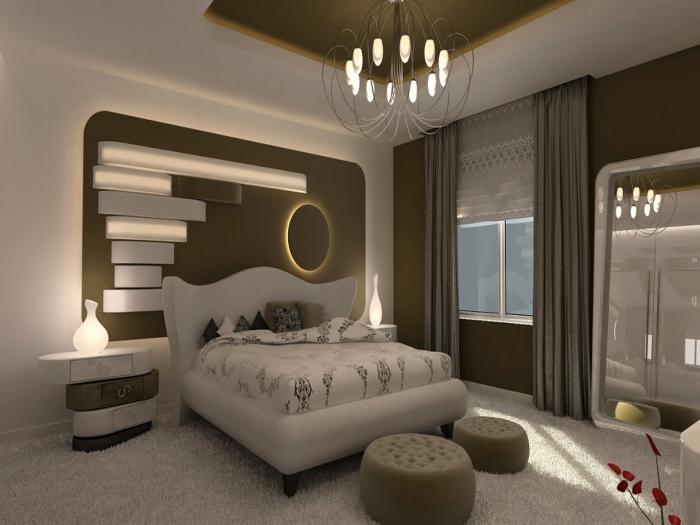 Ультрасовременная идея оформления небольшой спальной комнаты.