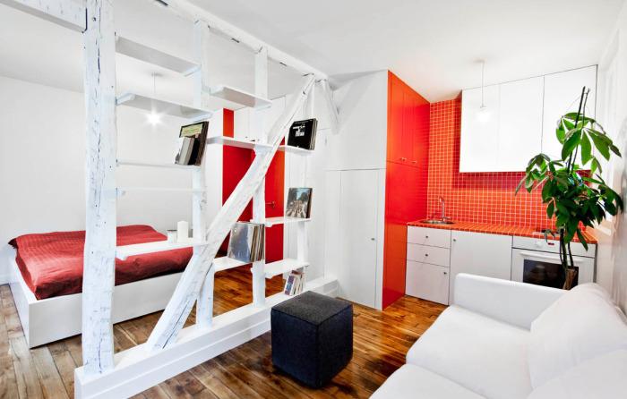 Стильная кухня и спальня с комфортабельной современной мебелью и стеллажом между комнатами.