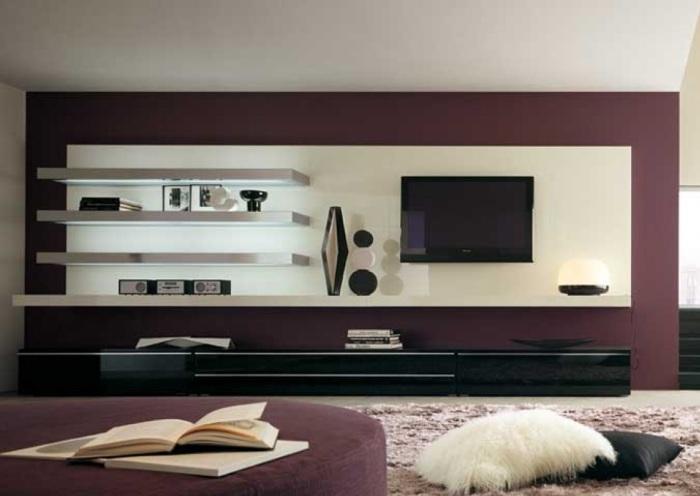 Классическая модульная мебель в стиле минимализма в зоне для просмотра телевизора.