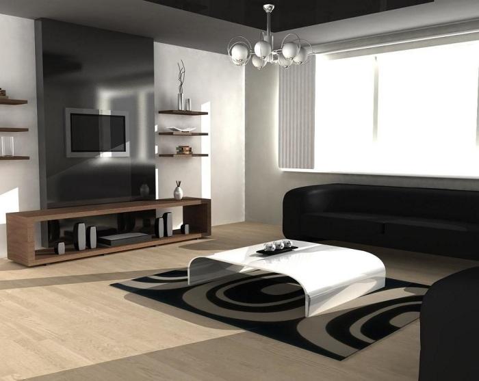 Ультрамодная гостиная комната в минималистском стиле.