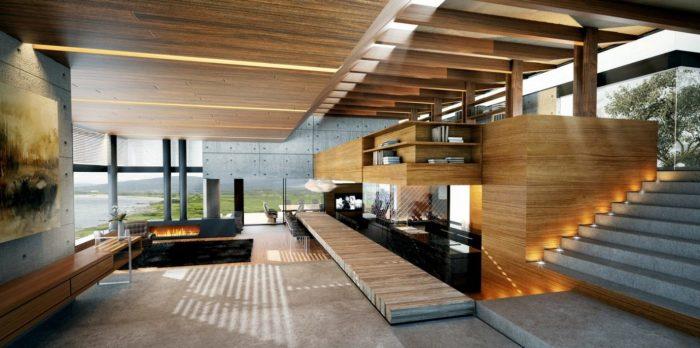 Двухуровневая ультрасовременная комната с камином в загородном доме.
