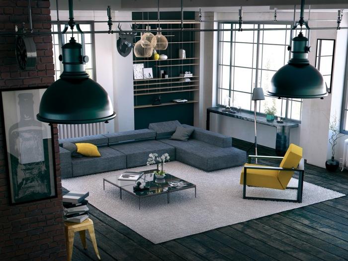 Контрастный интерьер гостиной комнаты с тёмными оттенками и яркими акцентами.