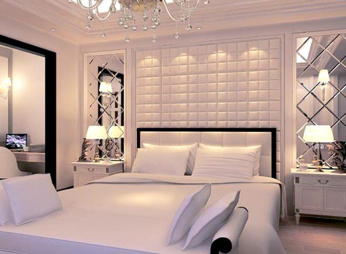 Массивное изголовье прямоугольной формы, обитое мягкой велюровой тканью, придаст спальне роскошный и презентабельный вид.