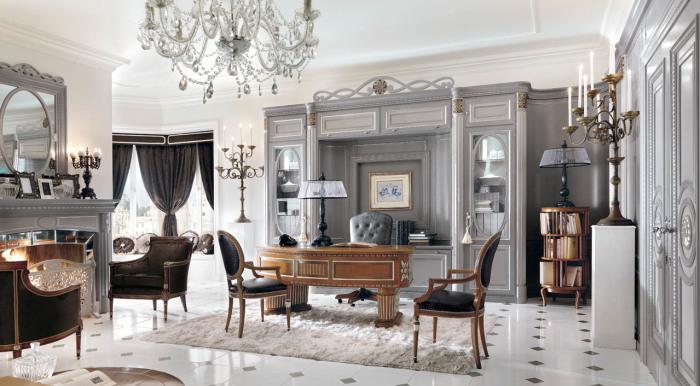 Роскошный домашний офис в аристократическом стиле.