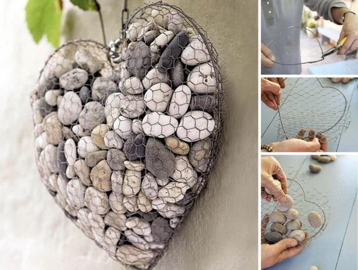 Сердце, которое можно создать своими руками из металлической проволоки и морской гальки.