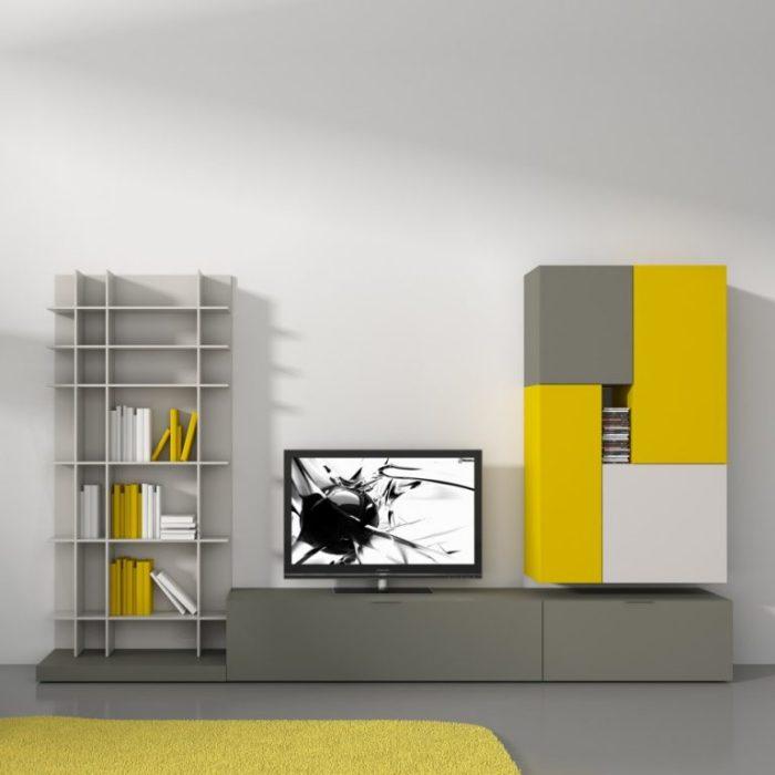 Ярко-желтый цвет в интерьере гостиной комнаты.