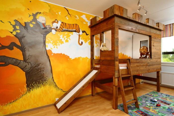 Еще один оригинальный мультяшный интерьер детской комнаты.