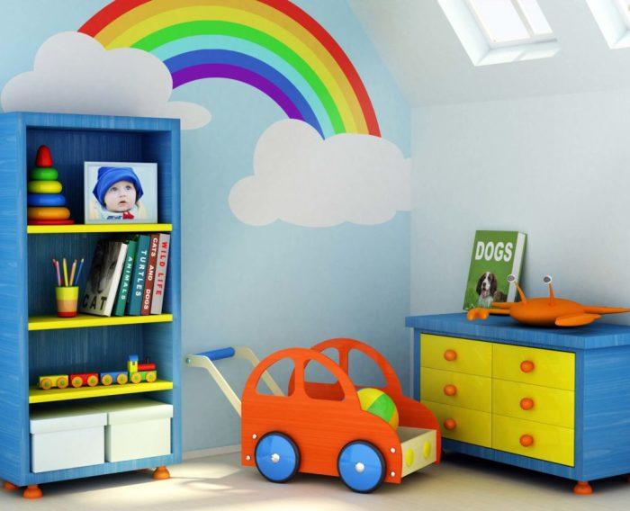 Наиболее простой способ правильного и гармоничного цветового распределению в интерьере детской комнаты.
