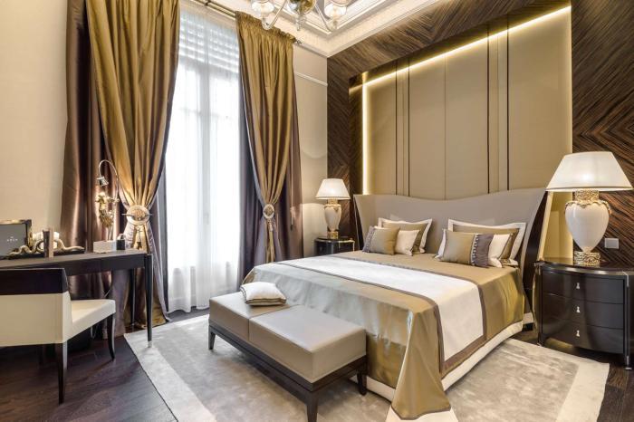 Спальная комната в настоящем аристократическом стиле.