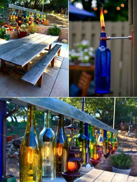 Светильники из обычных стеклянных бутылок - отличное решение для летнего патио.