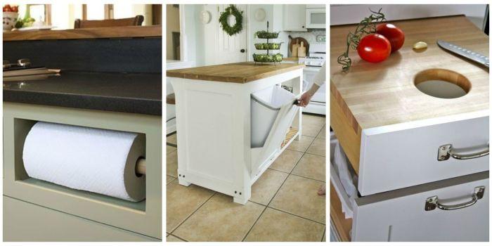 Органайзеры, размещенные в скрытых местах, для хранения пищевой плёнки и пакетов для мусора.